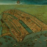 Cornelis Anthonisz, Bird's-Eye View of Amsterdam, 1538, detail of the Chapel of the Heilige Stede