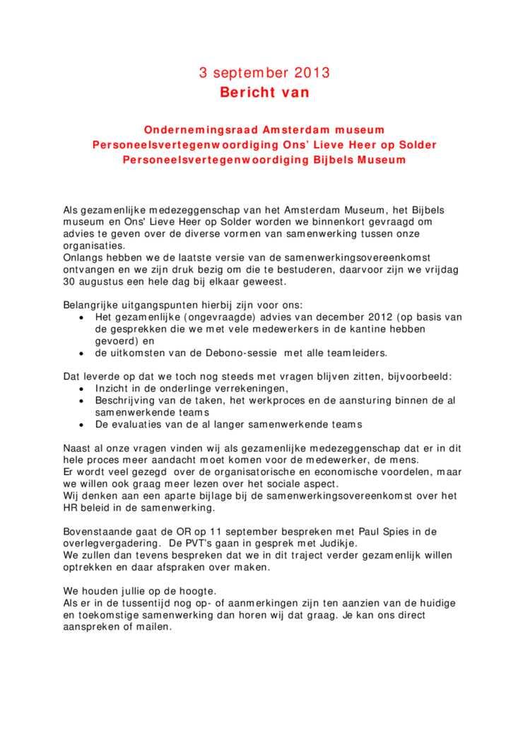 2013-9-3 bericht van de OR AM, OLHoS en BM — Hart Amsterdammuseum