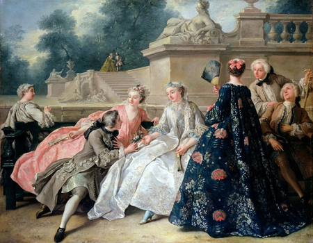 Jean-François de Troy, Assemblée in a Park of The Declaration of Love, 1731, olieverf op doek, Schloss Charlottenburg, Berlijn.