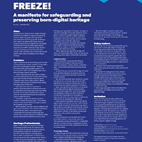 'FREEZE! A manifesto for safeguarding and preserving born-digital heritage'