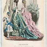 'The Fashions', modeprent uit 'The Englishwoman's Domestic Magazine', januari 1875.