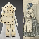 Links: Accessoire set, C. G. Gunther's Sons, 1890–99, collectie: The Metropolitan Museum of Art. Rechts: Detail van Gazette des Femmes et bibliothèque des dames, ca. 1843, 5e Annee, No. 7