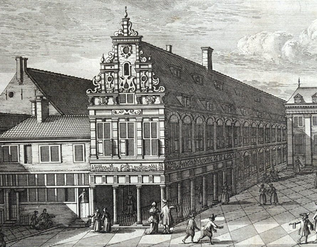 Kinderhuis, 'Meysjes Burger Weeshuys' detail, Caspar Commelin, 1693